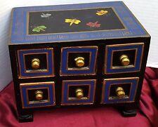 Hand Made Foreside Box Wood Storage Jewelry Dragonfly Blue Black Gold Folk Art
