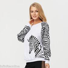 Fashion Women Long Sleeve Zebra Print Sweatshirt Blouse Casual T-Shirt Pullover