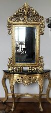 Stunning Modern Gilt Wood Marble Topped Console Table with Matching Mirror