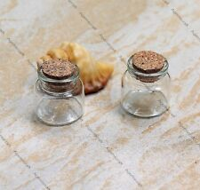 4 mini clear glass bottles vial jag container 29x30mm w cork cover Craft Art new