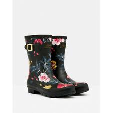 Joules Molly Mid Height Printed Wellies - Black Floral - UK 4 5 6 7 8 - BNIB