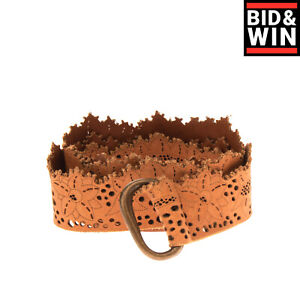 GOLD CASE SOGNO Leather Waist Belt Size M Openwork Scalloped Edges Made in Italy