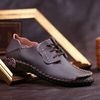 Men's Casual Genuine Leather Shoes Lace-up Sneakers Oxford Breathable Loafers