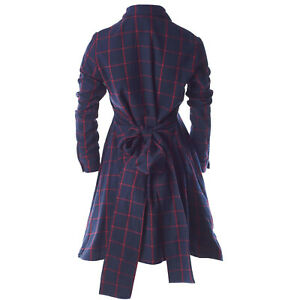 8297 Auth MAJE Runway Oversized Bow Belt Check Button Up Shirt Dress Sz 2 UK10 M