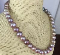"classic super luster 9-10mm south sea lavender  pearl necklace 18""14k"