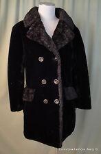 """Vintage 60's 70's Glenoit Donnybrook  Black Faux Fur Knee Length Bust 40"""""""
