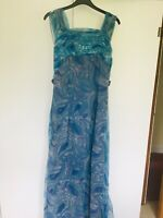 Elegant Marjon Couture Long Dress Sleeveless Size 12 Blue for Special Occasions