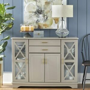 Taupe Finish Wooden Buffet Server Storage Cabinet Dining China Hutch Sideboard