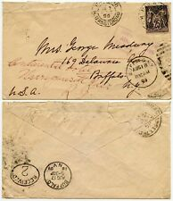 USA FORWARDED FROM BUFFALO BOXED in MAUVE 1899 FRANCE ALLEGORY 25c to RHODE IS.