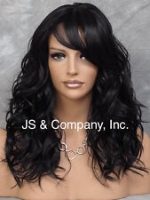 Beachy Body Wavy Jet Black w. center dot part n Bangs Heat Safe Wig Bangs HUR 1