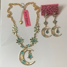 "Betsey Johnson sun moon pendant necklace earrings set women's 20""gold chain"
