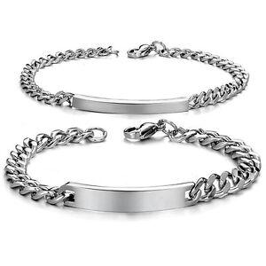 Edelstahl Partner Armbänder Gravurplatten Freundschaft Set Panzerarmband Silber