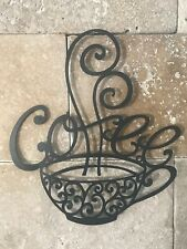 "14"" Large Black Metal Coffee Cup Mug Scrolled Silhouette Metal Wall Art Décor"