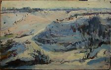 Russian Ukrainian Soviet Oil Painting Landscape impressionism winter snow ravine