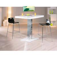 Table salle à manger meuble cuisine rectangulaire moderne chrom BLANC BRILLANT