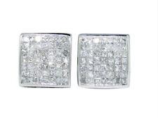 Mens Ladies 14K White Gold Bezel Princess But 8 MM Diamond Stud Earrings 3/4 Ct