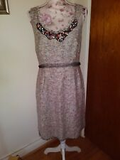 Kay Unger Multi Color Beaded Sheath Sz 10 M Dress Textured Tweed Fray wool plaid