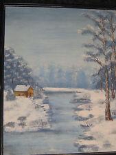 BEAUTIFUL SNOW SCENE OIL PAINTING CABIN ART 1960'S