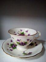 Radfords Crown Bone China - England- Tea Cup & Saucer *Violets* Purple Flowers.