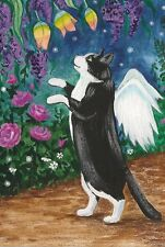 LE #2 4X6 POSTCARD RYTA VINTAGE STYLE ART ANGEL FAIRY TUXEDO CAT FLORAL SPRING
