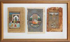 Three Antique Indo-Persian Miniature Gouache Paintings-Farsi Calligraphy Text