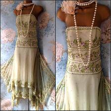 Vintage green Cream Floral 20s deco gatsby bead dress wedding Prom 10