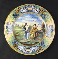 "🔷 Antique Castelli Italy 9 5/8"" Plate Charger Faience Majolica Maiolica 3 of 3"
