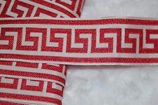 "$1.50 yrd cherry red white greek key jacquard woven sewing ribbon Trim 1.5"" wide"