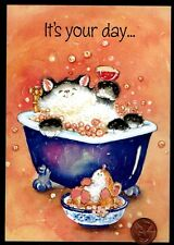 MAGNIFICATS Margaret Sherry Cat Kitten Mouse Tub Birthday Greeting Card - NEW