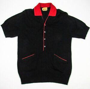 Vintage 60s Van Heusen Pullover Henley Sweater M Black Red V-Neck Mod Hipster