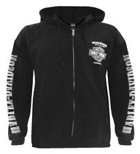 Harley-Davidson Men's Lightning Crest Full-Zippered Hooded Sweatshirt, Black