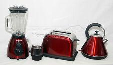 Red 1.8L Cordless Electric Kettle + Wide Bread Slice Toaster + 500W Blender Set