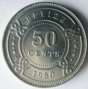 1980 BELIZE 50 CENTS - AU/UNC - Low Mintage Coin - Lot #L31