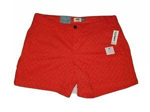 """Old Navy 5"""" Eyelet Shorts Womens Size 12 Orange Cotton Mid Rise NWT"""