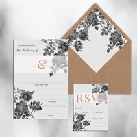 PACK OF 10 x BLANK GREY & ROSE GOLD PRINT WEDDING INVITATIONS