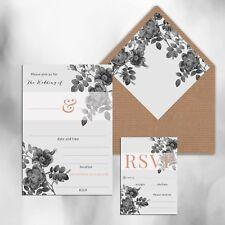 PACK OF 10 x BLANK GREY & ROSE GOLD PRINT WEDDING INVITATIONS
