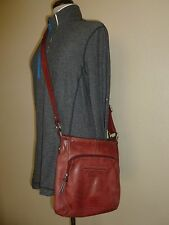 Fossil Red Leather Shoulder Purse Bag Crossbody Hobo Shoulder Handbag