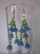 Lungo Goccia/Dangle Earrings-Blu LUCITE FIORI - 3 fili campanule
