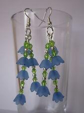 Long Drop / Dangle Earrings - Blue Lucite Flowers - 3 strands Bluebells