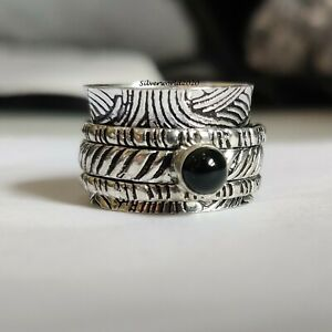 Black Onyx Spinner Ring 925 Sterling Silver Plated Handmade Ring Size 7 P548
