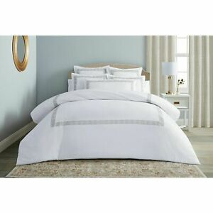 Wamsutta Ardsley Duvet Cover & 2 Shams Embroidery in Champagne/Taupe King $170