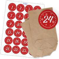 Adventskalender zum Befüllen Sets Tüten & Aufkleber Weihnachten Motiv Rot