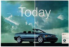 2000 BMW 323Ci Convertible Vintage Original 2 page Print AD - Blue car photo sky
