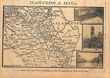 Map Carte Belgique Belgium Hôtel de Ville d'Anvers la Sambre à Namur  WWI 1914