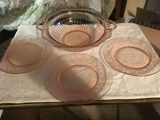 Vintage Pink Depression Glass Bowl W/Handles Scalloped Edge 3 Plates Floral