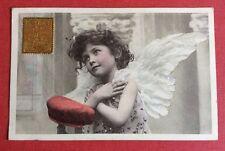 CPA. 1905. Petite Fille. Angelot. Rare.Seau Rouge Aristographie.Faux Timbre Doré
