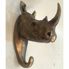 Rhino Bronze Mur Crochet SCULPTURE STATUE ART CONTEMPORAIN Animal