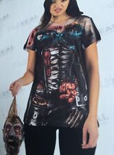 BNWT Faux Real. Ladies Corset Zombie Funny Photorealistic T Shirt Size Medium