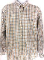 J.Crew Drees Casual Shirt Men's XL Brown Blue Plaid Button Down LS