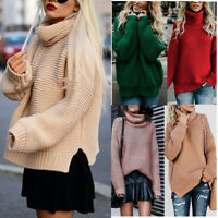 Womens Winter Turtle Neck Baggy Chunky Knitted Oversized Sweater Jumper Tops US